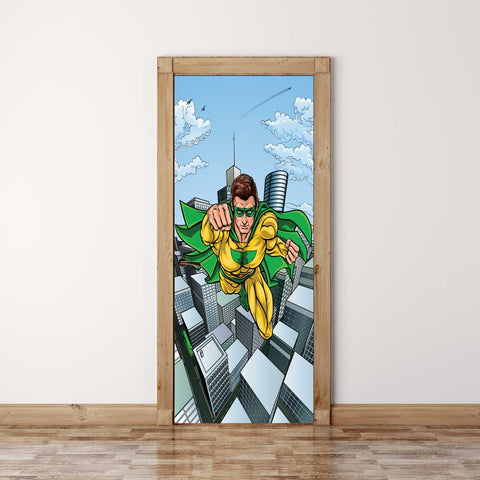 Door Mural Flying Superhero - Self Adhesive Fabric Door Wrap Wall Sticker