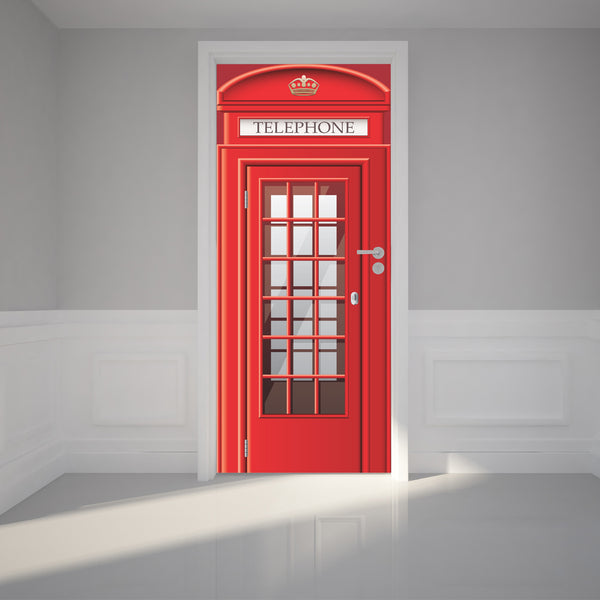 Door Wall Sticker London Phone Booth - Self Adhesive Fabric Door Wrap Wall Sticker