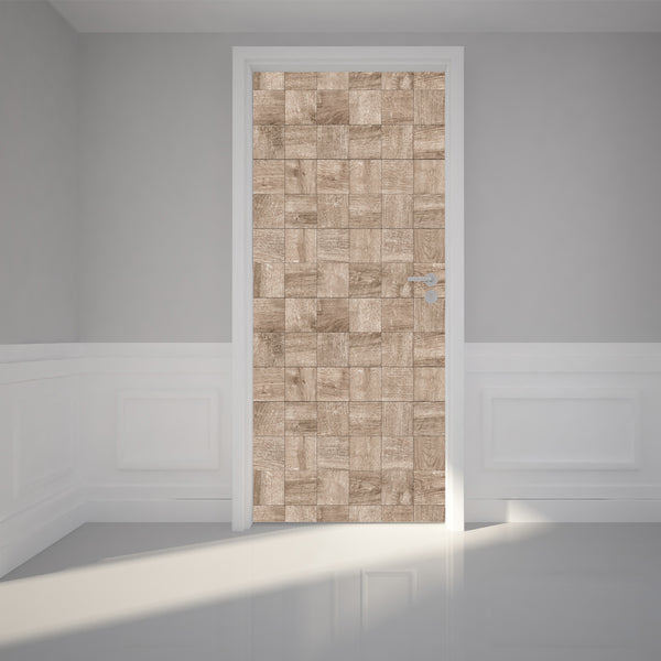 Door Wall Sticker Wood Mosaic Pattern - Self Adhesive Fabric Door Wrap Wall Sticker