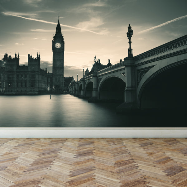 Wall Mural London in monochrome, Peel and Stick Fabric Wallpaper for Interior Home Decor