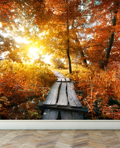 Wall Mural Autumn and small bridge, Peel and Stick Fabric Wallpaper