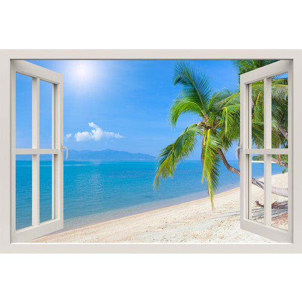 Window Frame Mural Tropical beach with coconut palm - Peel and Stick 3D Wall Decal