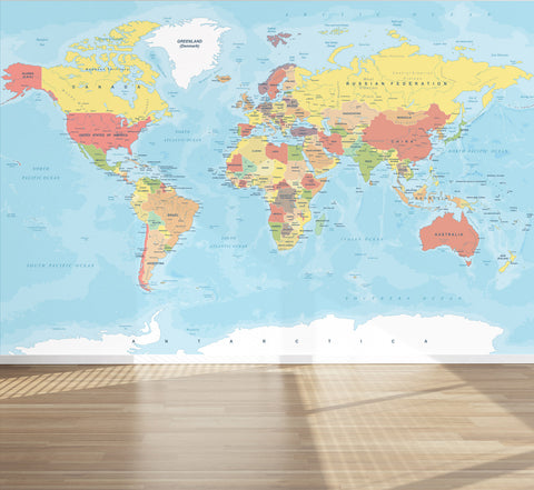 Wall Mural World Map, Peel and Stick Fabric Wallpaper for Interior Home Decor