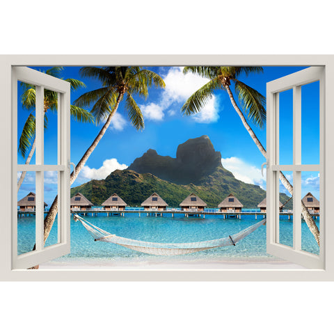 Window Frame Mural Palm Beach with Hammock - Peel and Stick 3D Wall Decal