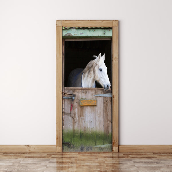 Door Mural White horse in Stable - Self Adhesive Fabric Door Wrap Wall Sticker