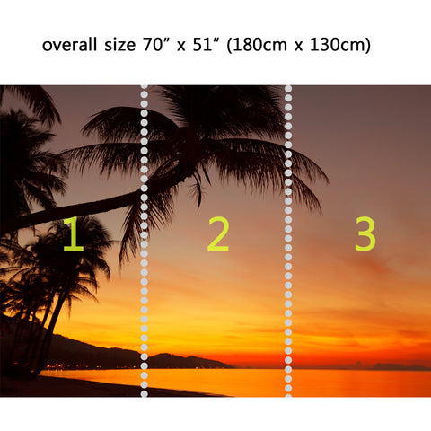 Wall Mural Tropical sunset beach with palm tree, Peel and Stick Fabric Wallpaper for Interior Home Decor
