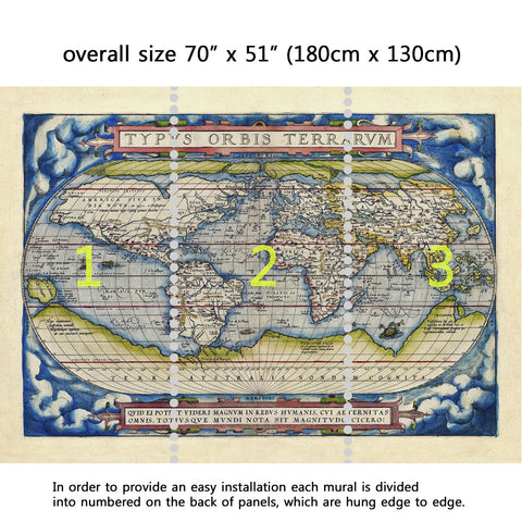 Wall Mural Old map of the world Ancient style, Peel and Stick Fabric Wallpaper