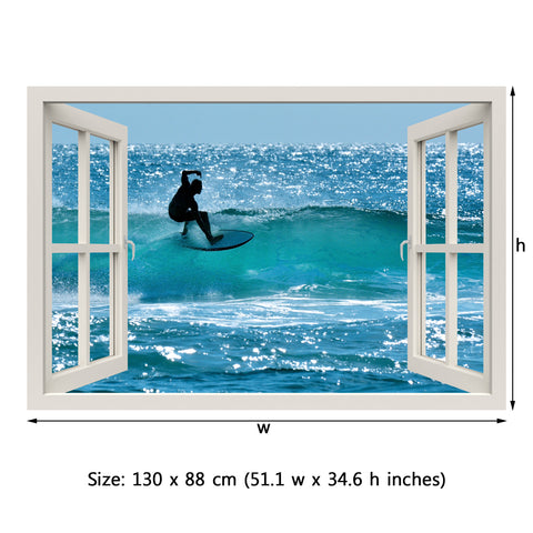 Window Frame Mural Surfers - Peel and Stick 3D Wall Decal