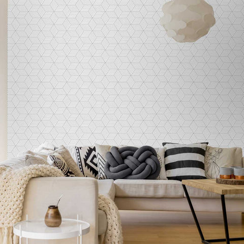 Geometric Box Pattern Peel & Stick Fabric Wallpaper Repositionable