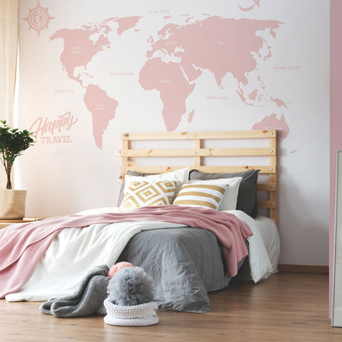 Large World Map Decal, Vinyl Wall Stickers