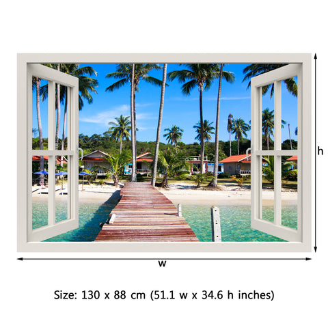 Window Frame Mural Boardwalk on the Tropical beach - Peel and Stick 3D Wall Decal