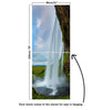 Door Mural waterfall and rock - Self Adhesive Fabric Door Wrap Wall Sticker