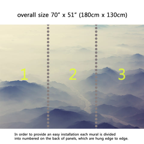 Wall Mural Foggy mountains silhouette, Fabric Wallpaper for Interior Home Decor