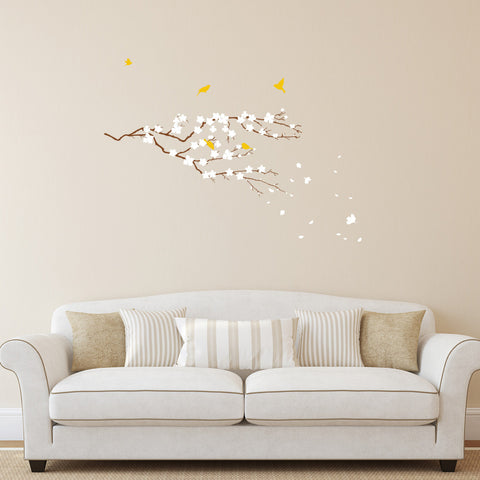Cherry Blossom Tree Branch with Birds, Vinyl Wall Stickers Art