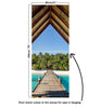 Door Mural Bridge to tropical beach - Self Adhesive Fabric Door Wrap Wall Sticker