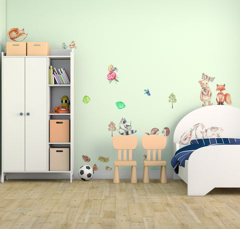 Forest Animals Fabric Wall Decal, Woodland Animals Set - Peel and Stick Fabric Stickers