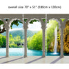 Wall Mural Waterfall in deep Forest Arch structure, Peel and Stick Fabric Wallpaper for Interior Home Decor