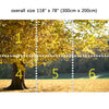 Wall Mural Autumn forest, Peel and Stick Fabric Wallpaper for Interior Home Decor