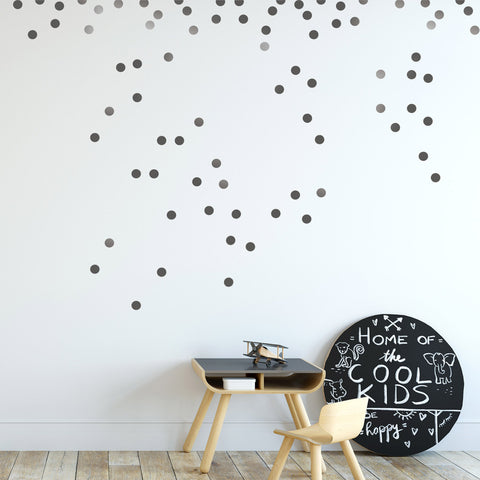 Silver Wall Vinyl Decal Dots (210 Decals) Vinyl Polka Dot Round Sticker ...