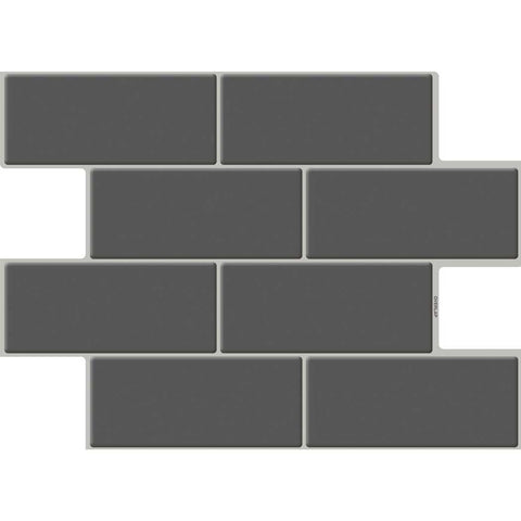 Deep gray Subway Tiles Pack of 5 Peel and Stick