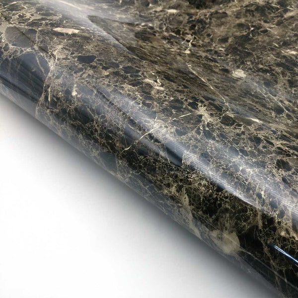 "Marble Interior film Self adhesive - Black Glossy, 24"" x 78.7"""