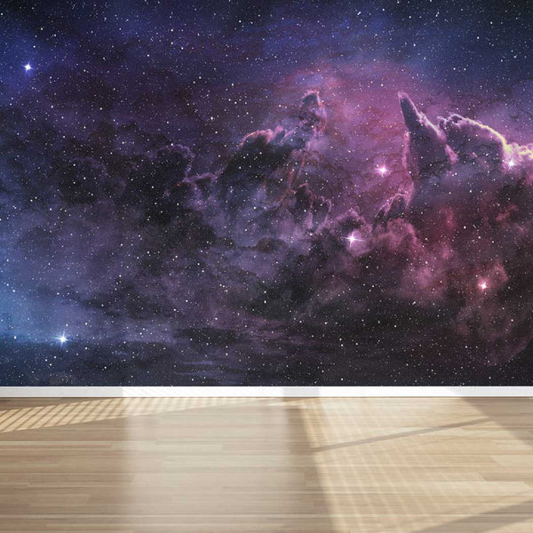 Wall Mural Purple Nebula and Cosmic Dust, Fabric Wallpaper for Home Decor