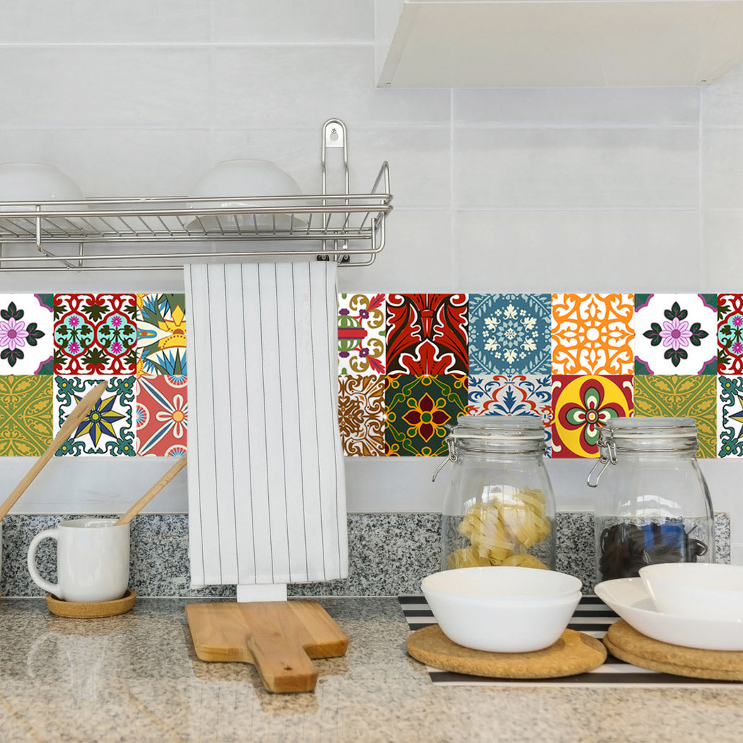 Tile decals Lublin - Set of 16 - Self adhesive Peel and Stick Tile Stickers  for Backsplash bathroom Kitchen Home decor