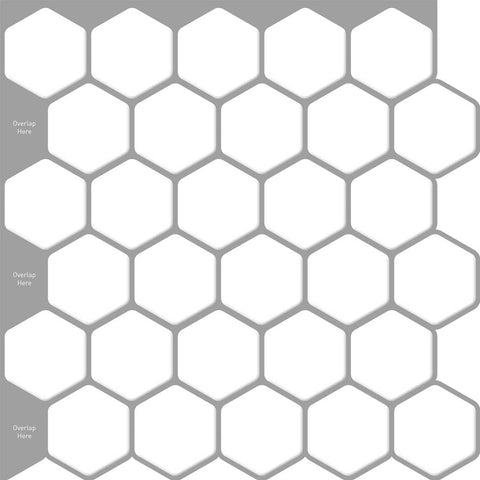 Peel and Stick Tile Stickers Pack of 5 White Hexagon Tiles ,Self Adhesive Wall Tiles