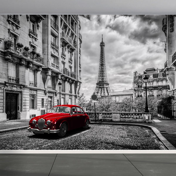 Wall Mural Eiffel Tower with Red retro limousine car, Fabric Wallpaper for Home Decor