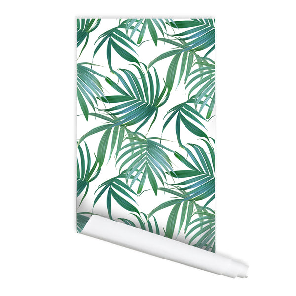 Tropical leaves Pattern Carolina Self adhesive Peel and Stick Fabric Wallpaper