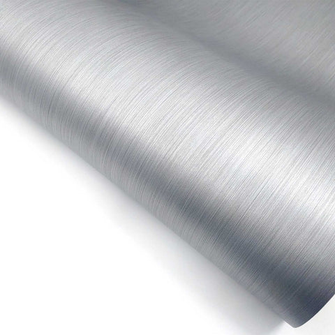 "Brushed Metal Texture Interior Film - Gray, 24"" x 78.7"" Self Adhesive Peel and Stick"