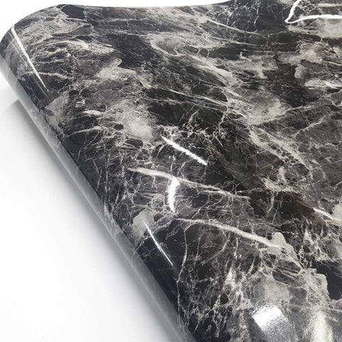 Marble Interior film Self adhesive Glossy Black Marble Paper Basti, Self-Adhesive Film