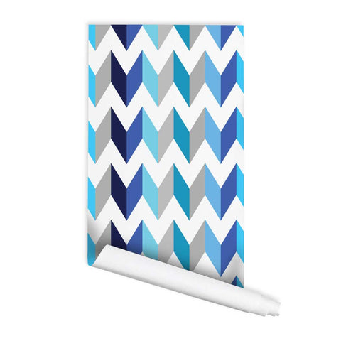 Chevron blue pattern Mokasa Peel & Stick Removeable Fabric Wallpaper