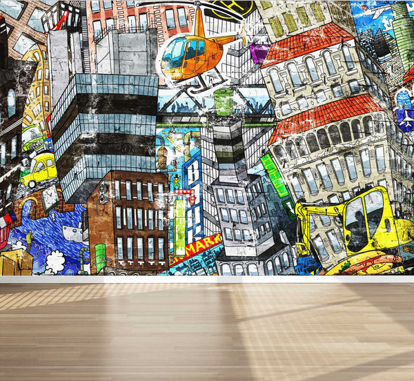 Wall Mural Graffiti City with houses cars people, Fabric Wallpaper for Home Decor