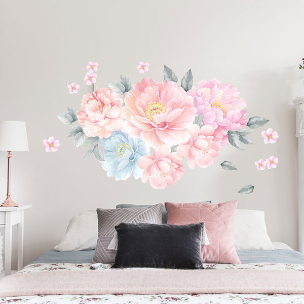 Peony Flowers Wall Decal Watercolor Floral Flowers Peel and Stick Fabric Stickers