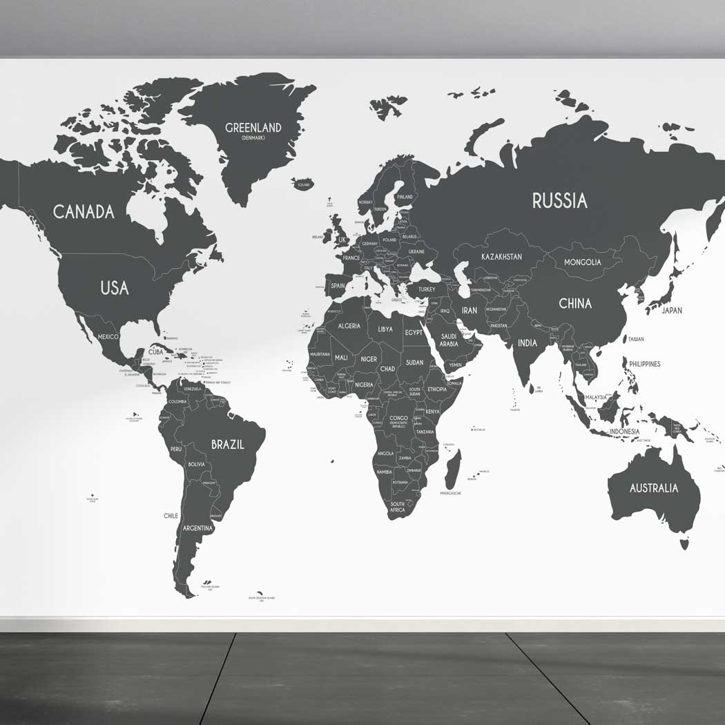 Wall Mural World Map on white background, Fabric Wallpaper for Home Decor