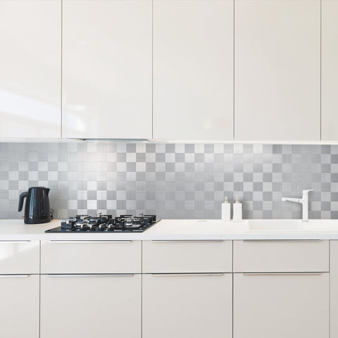 Easy DIY Peel and Stick Metal Backsplash Tile Square Silver Lenkeran, Aluminum Surface Wall Tiles for Kitchen Wall