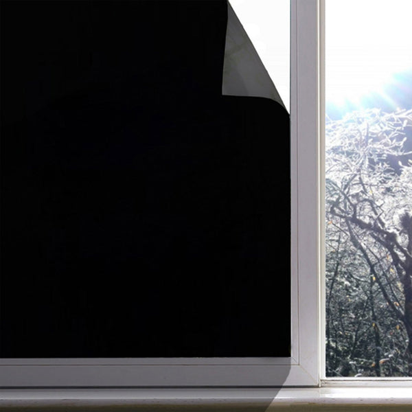 "Blackout Static Cling Window Film Room Darkening Privacy Protection, Light Blocking 19.6"" x 78.7"""