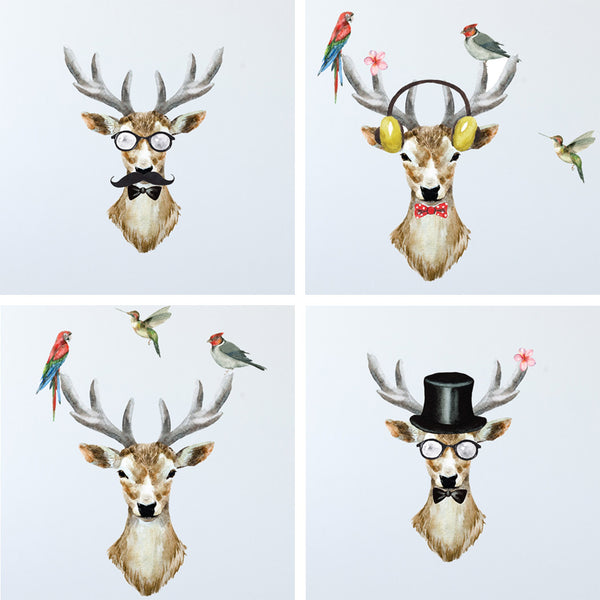 Watercolor Deer Dress Up Fabric Wall Decal, Peel and Stick Removable Fabric Stickers