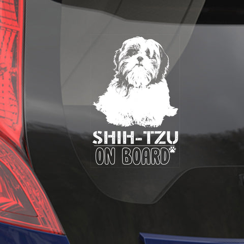 Car Window Sticker, Shih Tzu Clear Vinyl Decal On Board for Art Print Dog Sign