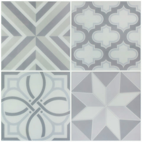 Peel and Stick Tile Stickers Pack of 5 Ranua Gray, Self Adhesive