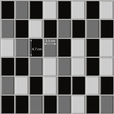 Peel and Stick Tile Stickers Pack of 5 Monochrome checked Tiles