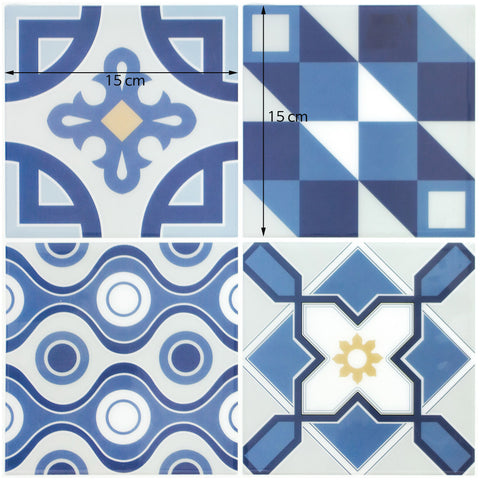 Peel and Stick Tile Stickers Pack of 5 Ranua Blue, Self Adhesive Wall Tiles