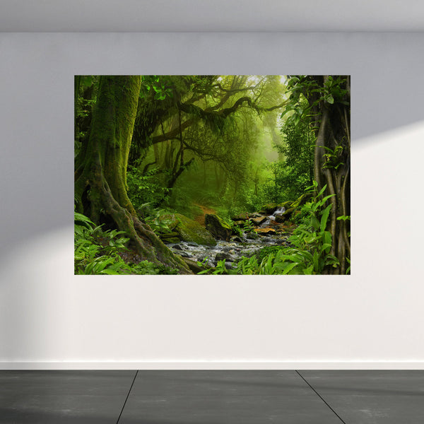 Wall Mural Jungle with river, Peel and Stick Fabric Wallpaper for Interior Home Decor
