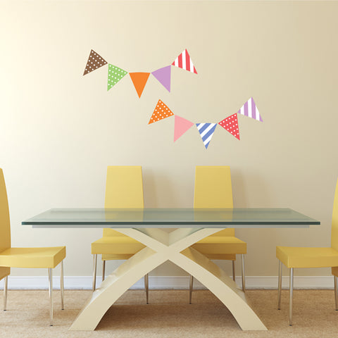 Bunting flags Fabric Wall Decal, Peel and Stick Removable Stickers