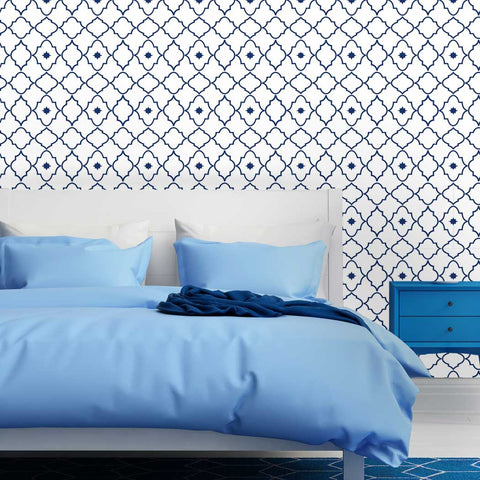Moroccan Geometric Tansikhte Self adhesive Peel and Stick Fabric Wallpaper