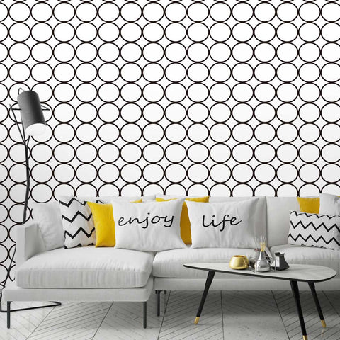 Circle pattern wallpaper Sekhing Peel & Stick Removeable Fabric Wallpaper