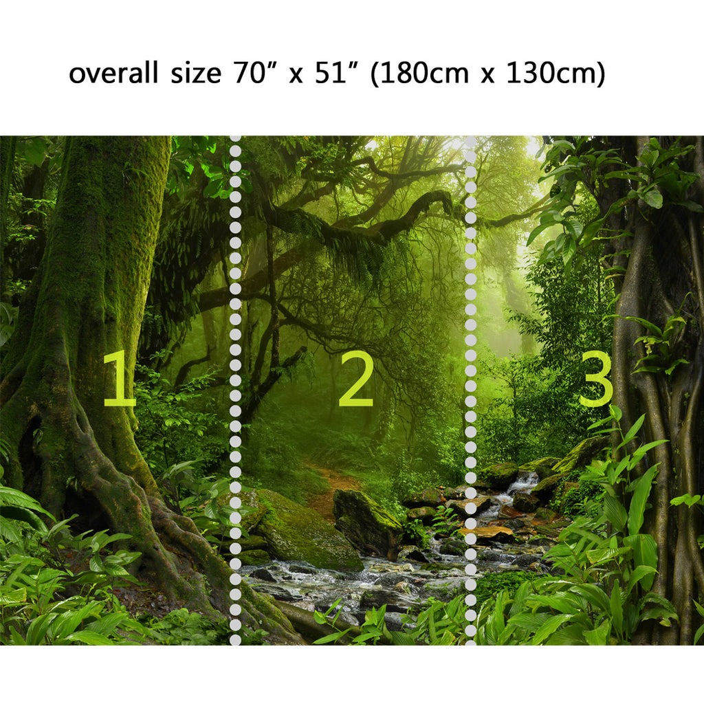 Wall Mural Jungle With River Peel And Stick Fabric