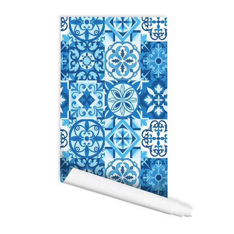 Blue Tile pattern fabric wallpaper Durban wall art peel and stick wall mural