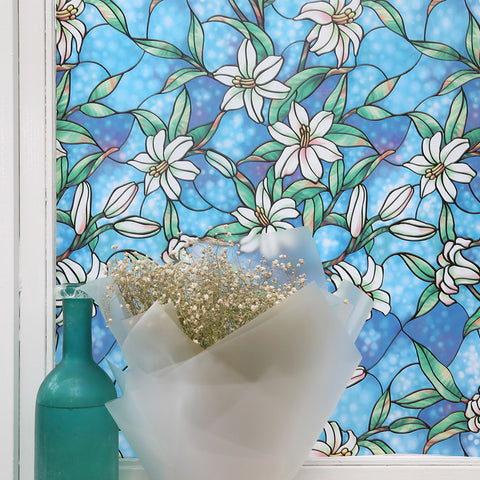 "Decorative Privacy Stained Glass Window Film Nerja, No-glue Self Static Cling 24"" x 78.7"""